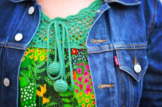 vestido Farm | Sapatilha Santa Lolla | Asos bag  | Brincos Sobral | Jaqueta Levi's